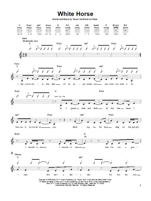Tablature guitare White Horse de Taylor Swift - Tablature guitare facile
