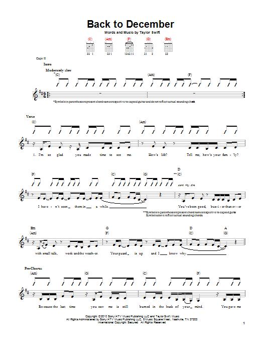 Tablature guitare Back To December de Taylor Swift - Tablature guitare facile