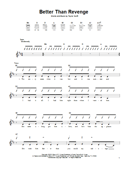 Tablature guitare Better Than Revenge de Taylor Swift - Tablature guitare facile