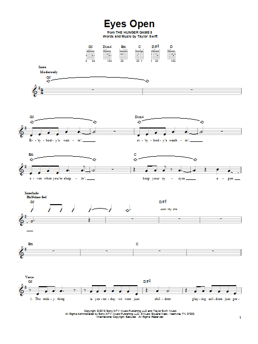 Tablature guitare Eyes Open de Taylor Swift - Tablature guitare facile