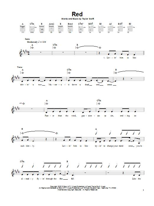 Tablature guitare Red de Taylor Swift - Tablature guitare facile