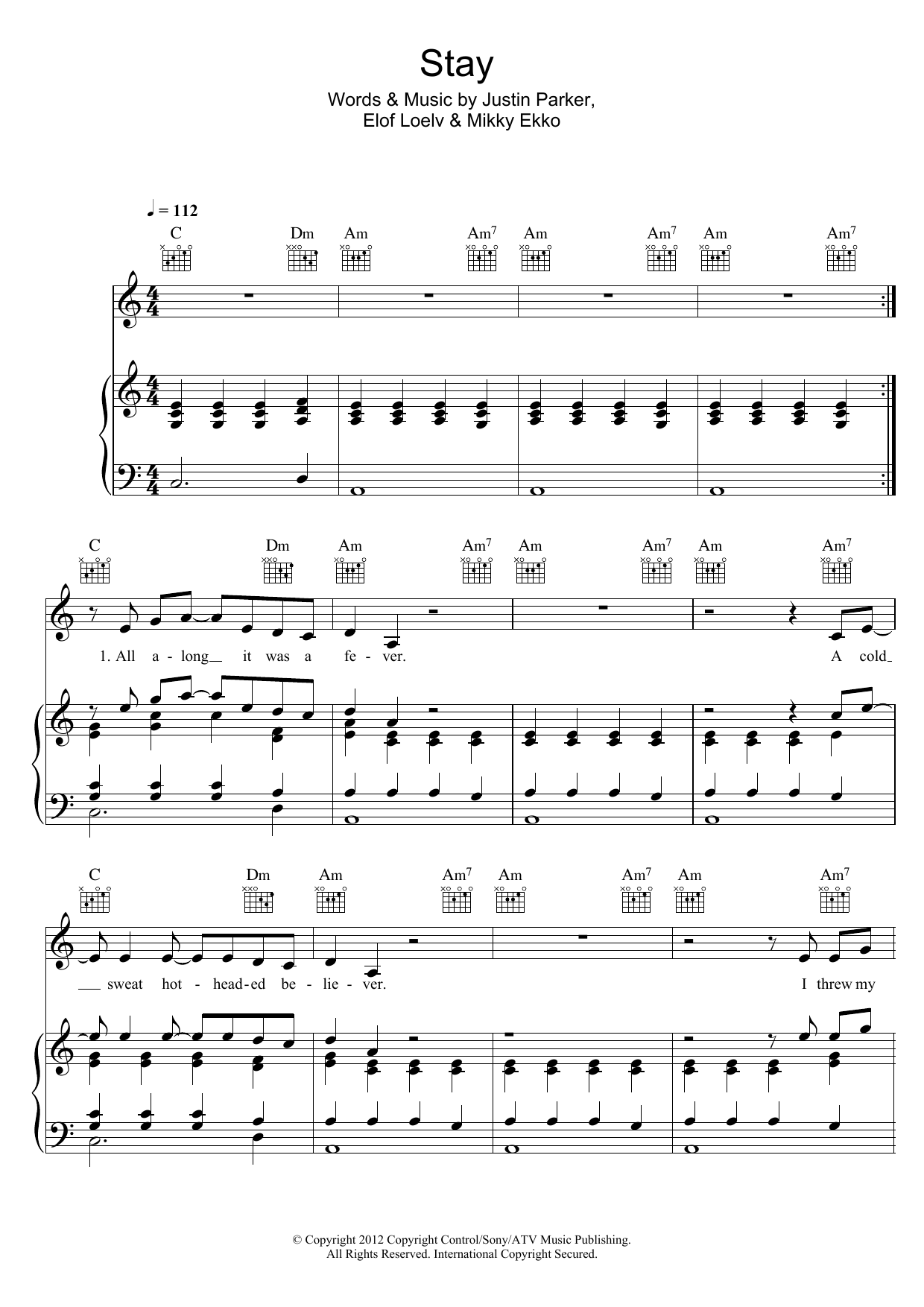 Piano piano tabs to stay by rihanna : Sheet Music Digital Files To Print - Licensed Justin Parker ...