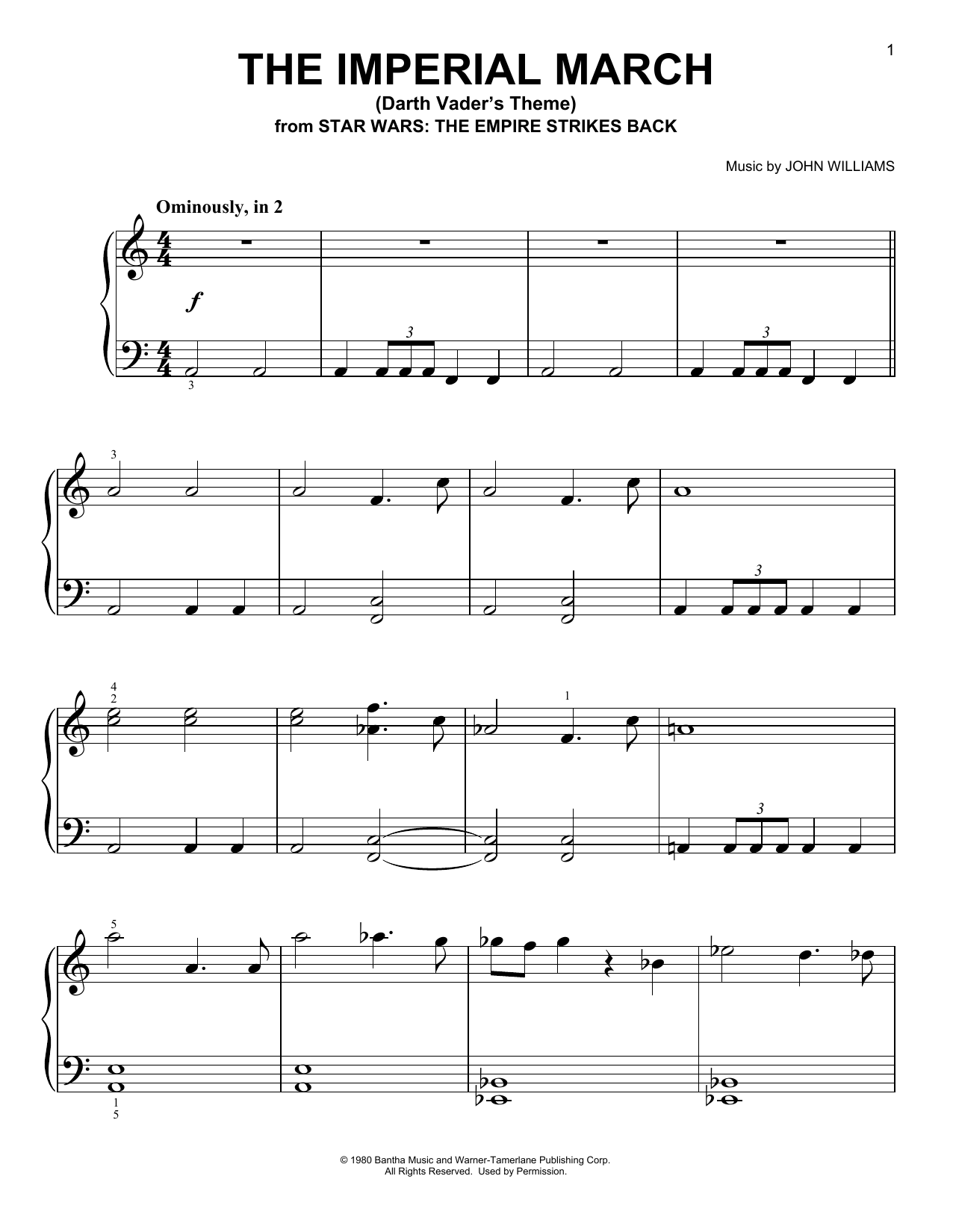 The Imperial March (Darth Vaderu0026#39;s Theme) sheet music by John Williams (Easy Piano u2013 94596)