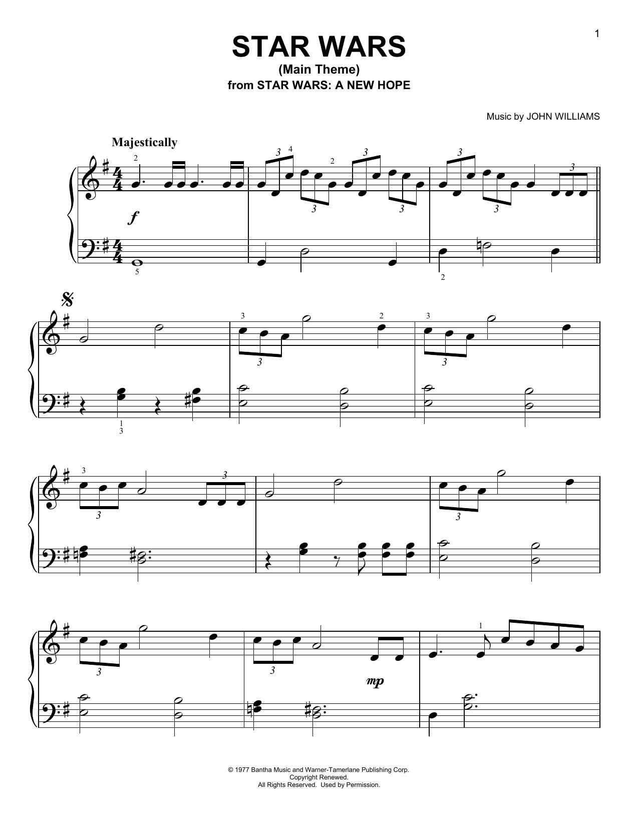 Partition piano Star Wars (Main Theme) de John Williams - Piano Facile