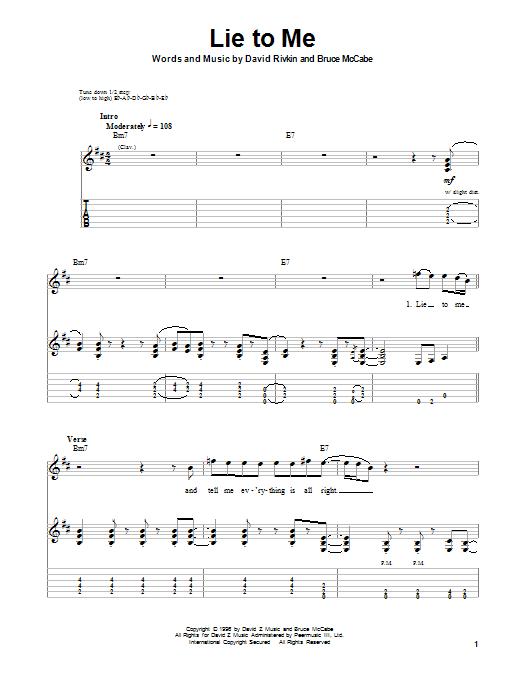 Tablature guitare Lie To Me de Bruce McCabe - Tablature Guitare