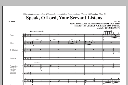 Speak, O Lord, Your Servant Listens (COMPLETE) sheet music for orchestra/band (chamber ensemble) by John Leavitt