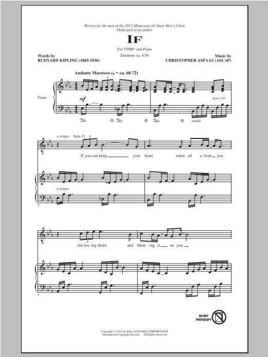 If sheet music for choir and piano (TTBB) by Christopher Aspaas