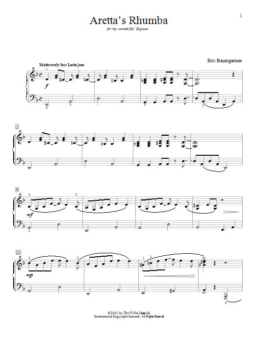 Aretta's Rhumba sheet music for piano solo (elementary) by Eric Baumgartner