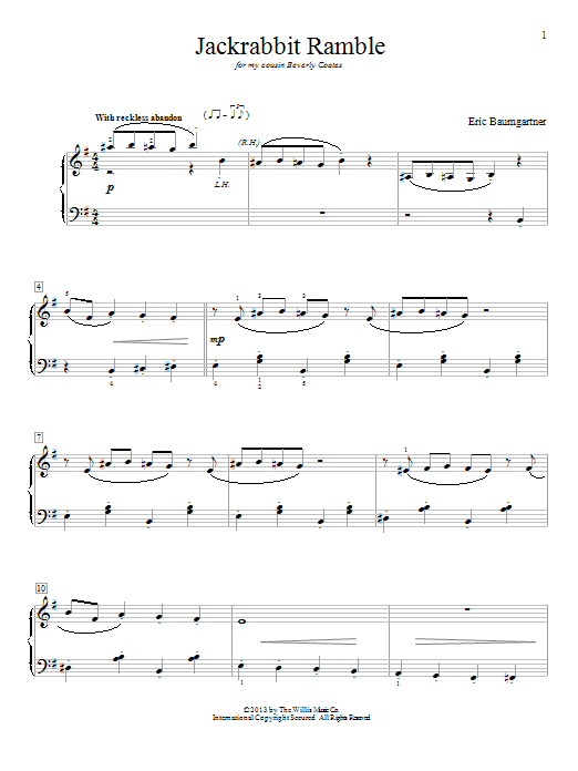 Jackrabbit Ramble sheet music for piano solo (elementary) by Eric Baumgartner