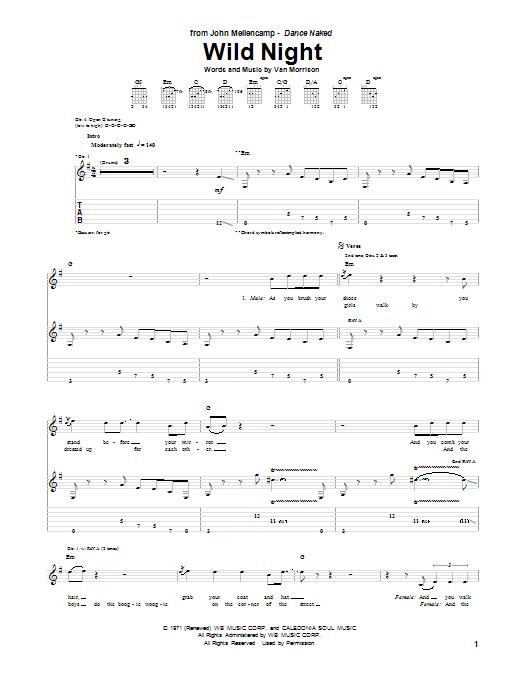 Tablature guitare Wild Night de John Mellencamp - Tablature Guitare