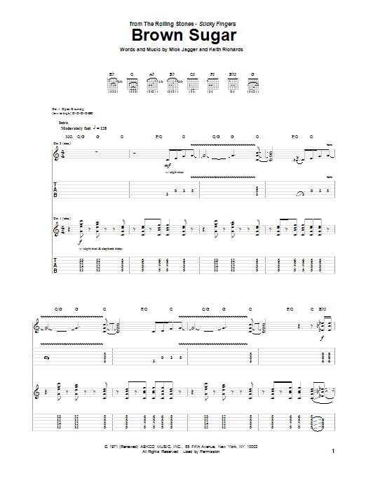 Tablature guitare Brown Sugar de The Rolling Stones - Tablature Guitare