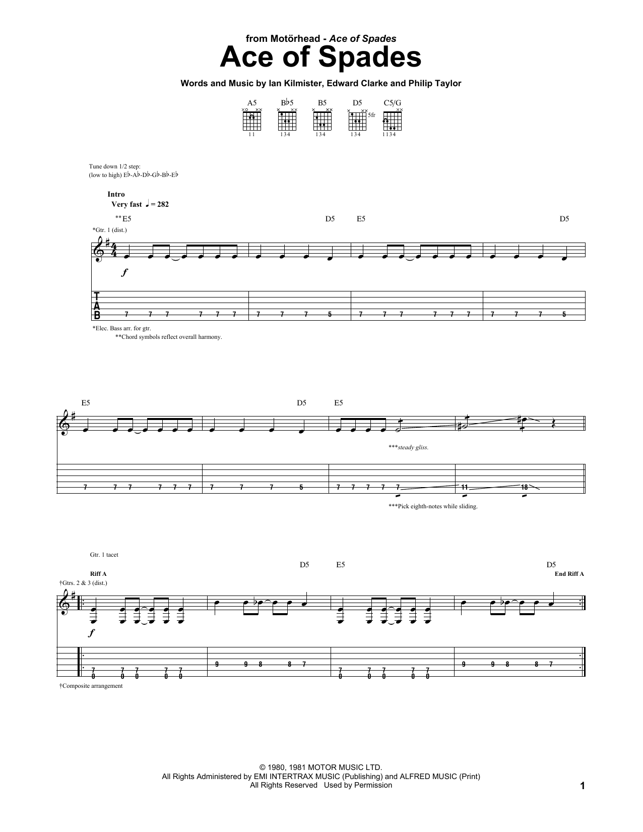Ace Of Spades sheet music for guitar solo (tablature) by Motorhead