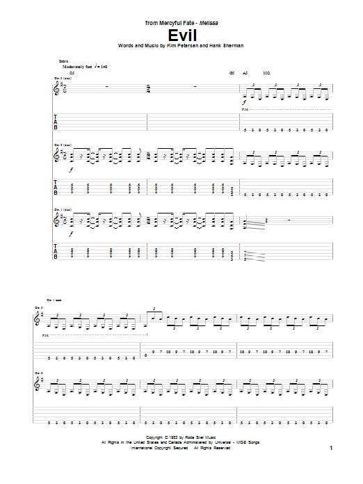 Evil sheet music for guitar solo (tablature) by Mercyful Fate