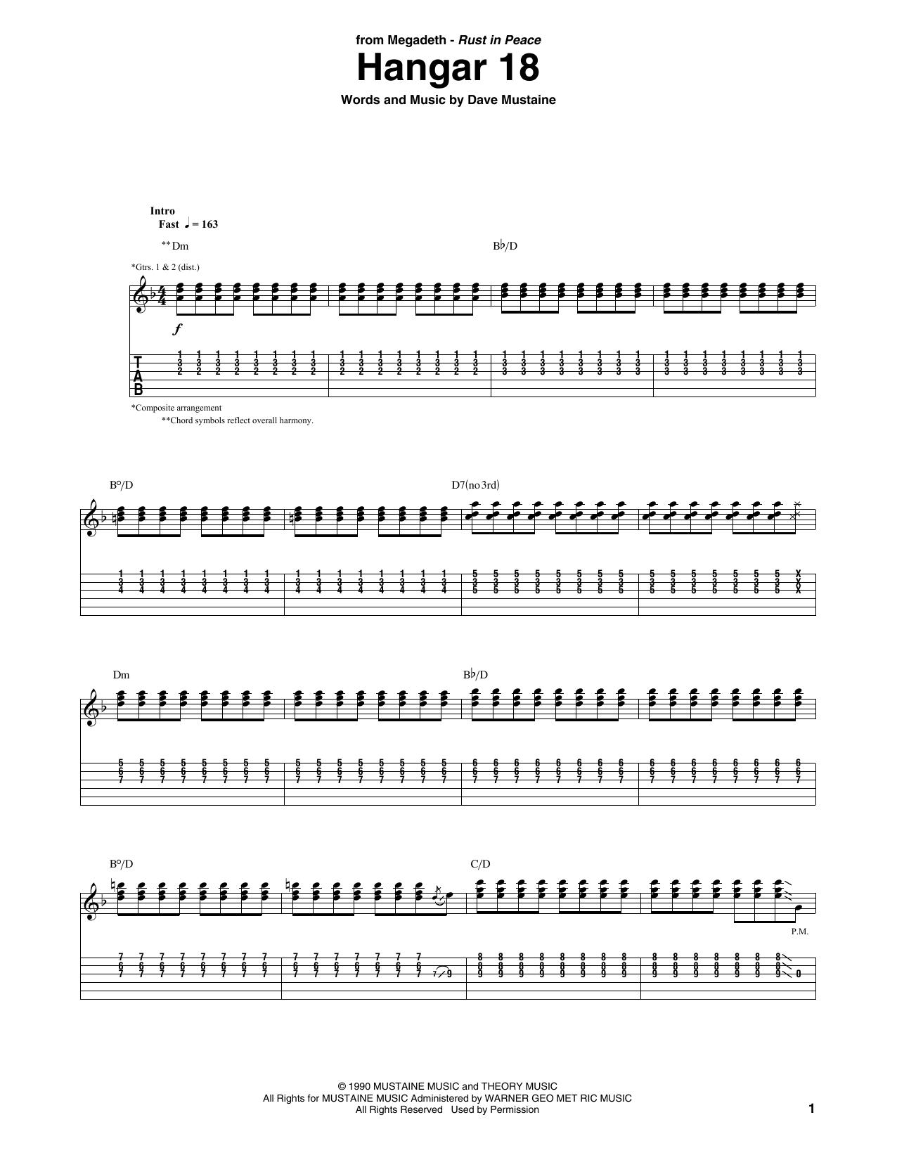 Tablature guitare Hangar 18 de Megadeth - Tablature Guitare