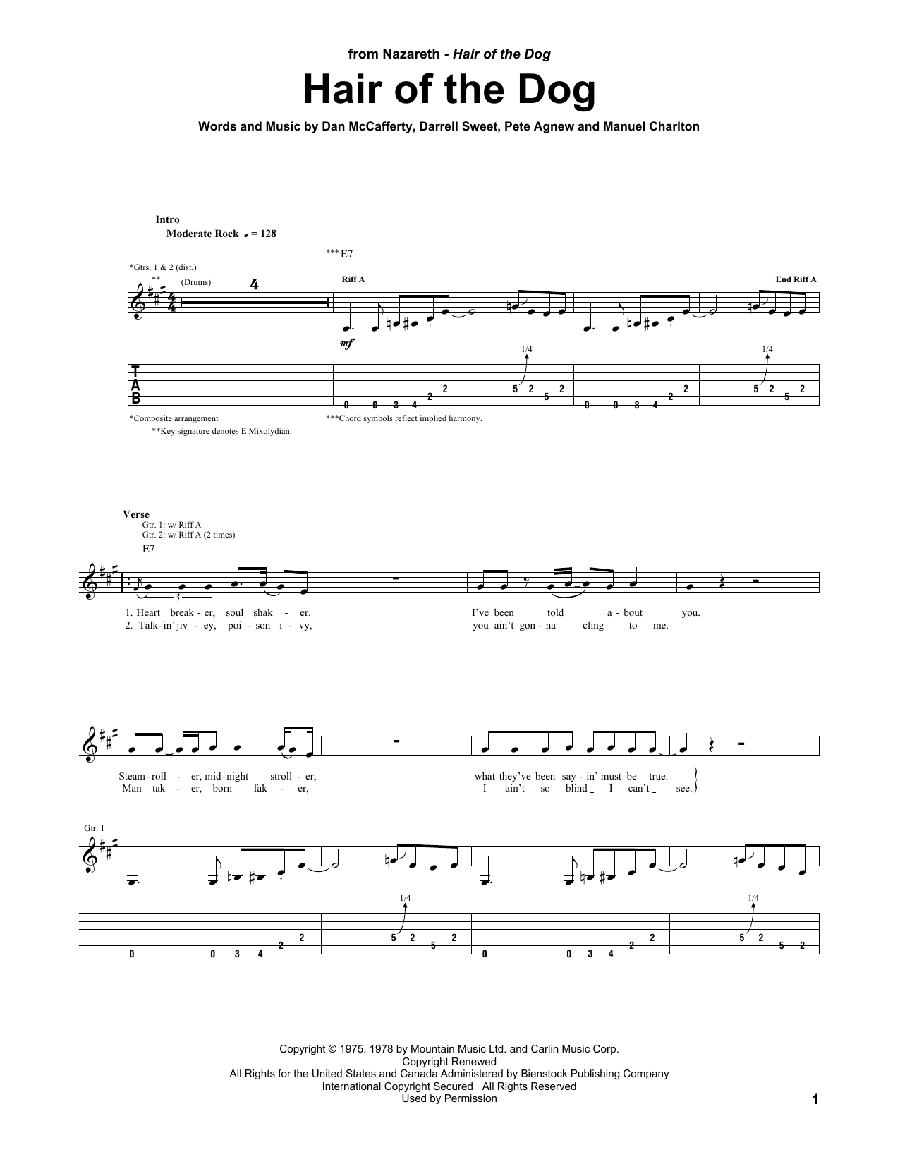 Tablature guitare Hair Of The Dog de Nazareth - Tablature Guitare