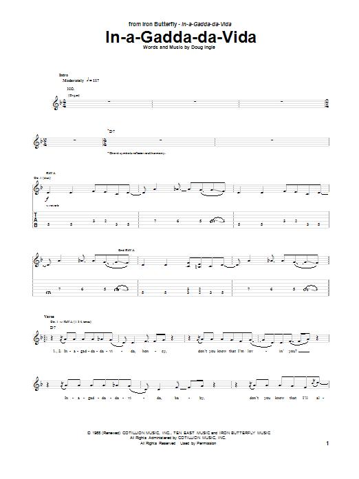 Tablature guitare In-A-Gadda-Da-Vida de Iron Butterfly - Tablature Guitare