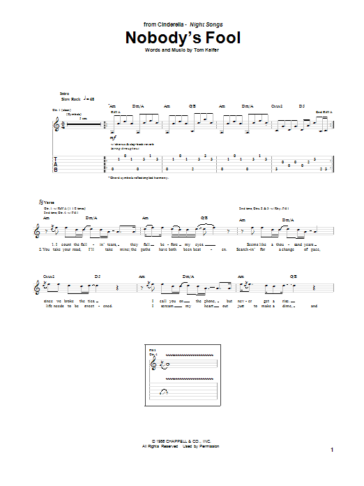 Tablature guitare Nobody's Fool de Cinderella - Tablature Guitare