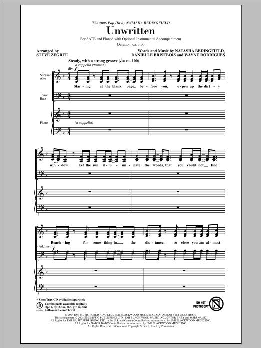 Partition chorale Unwritten de Natasha Bedingfield - SATB