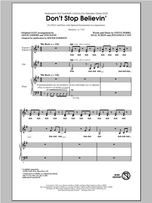 Partition chorale Don't Stop Believin' de Roger Emerson - SSA