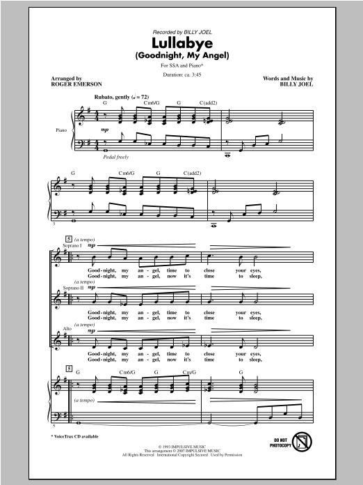 Partition chorale Lullabye (Goodnight, My Angel) de Billy Joel - SSA