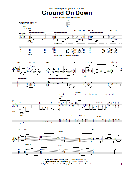 Tablature guitare Ground On Down de Ben Harper - Tablature Guitare