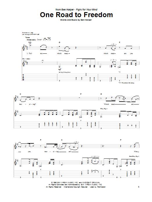 Tablature guitare One Road To Freedom de Ben Harper - Tablature Guitare