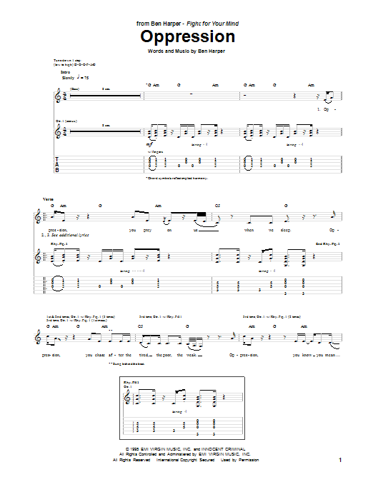 Tablature guitare Oppression de Ben Harper - Tablature Guitare