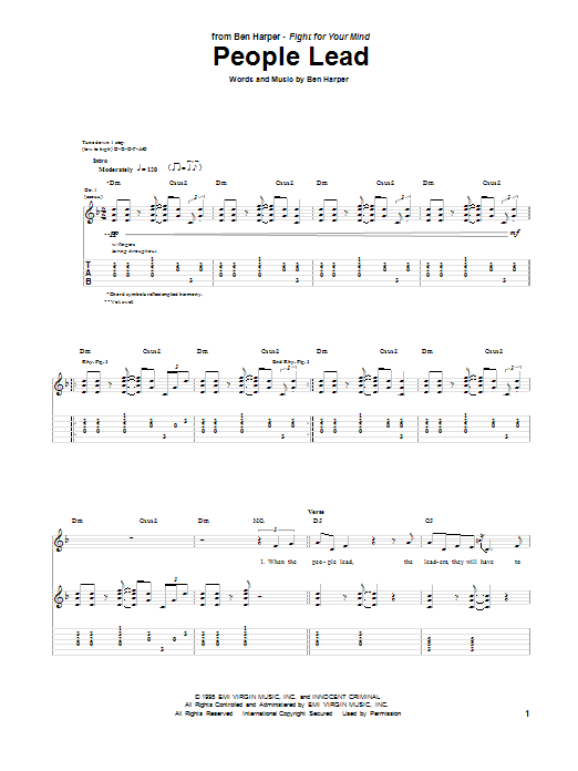 Tablature guitare People Lead de Ben Harper - Tablature Guitare