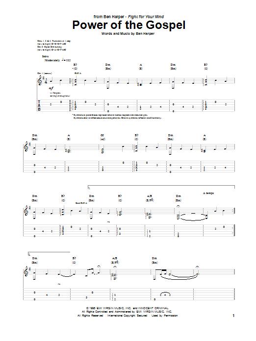 Tablature guitare Power Of The Gospel de Ben Harper - Tablature Guitare