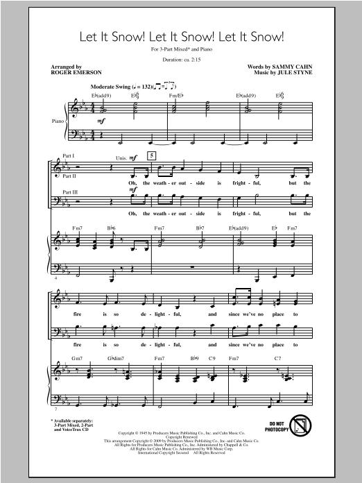 Partition chorale Let It Snow! Let It Snow! Let It Snow! de Roger Emerson - 3 voix mixtes
