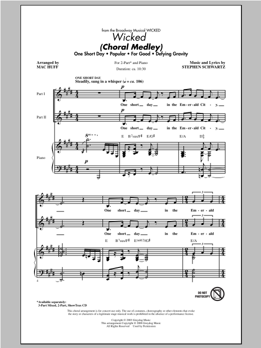 Partition chorale Wicked (Choral Medley) de Mac Huff - 2 voix