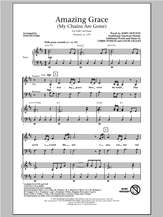 Piano amazing grace piano chords : Amazing Grace My Chains Are Gone Guitar Sheet Music Free - chris ...