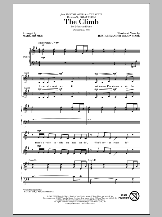 Partition chorale The Climb de Miley Cyrus - 2 voix