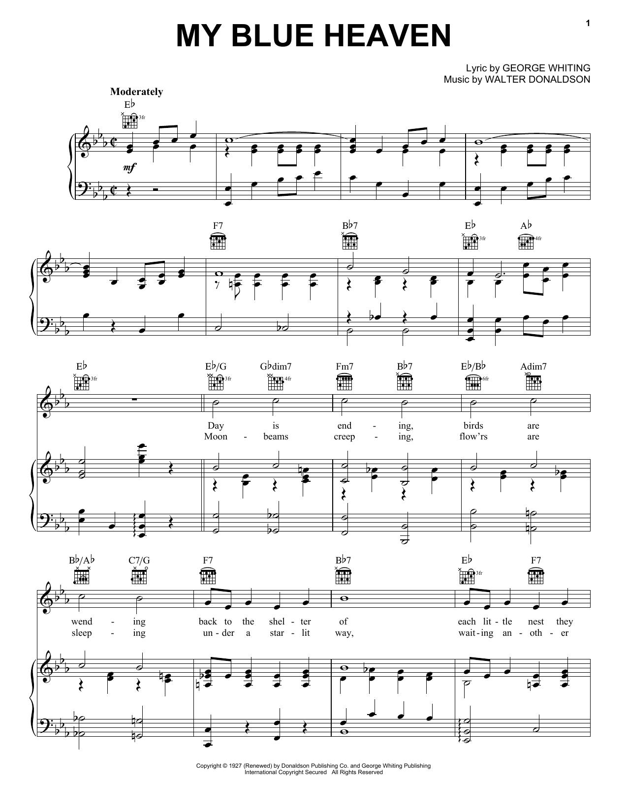Partition piano My Blue Heaven de Walter Donaldson - Piano Voix Guitare (Mélodie Main Droite)