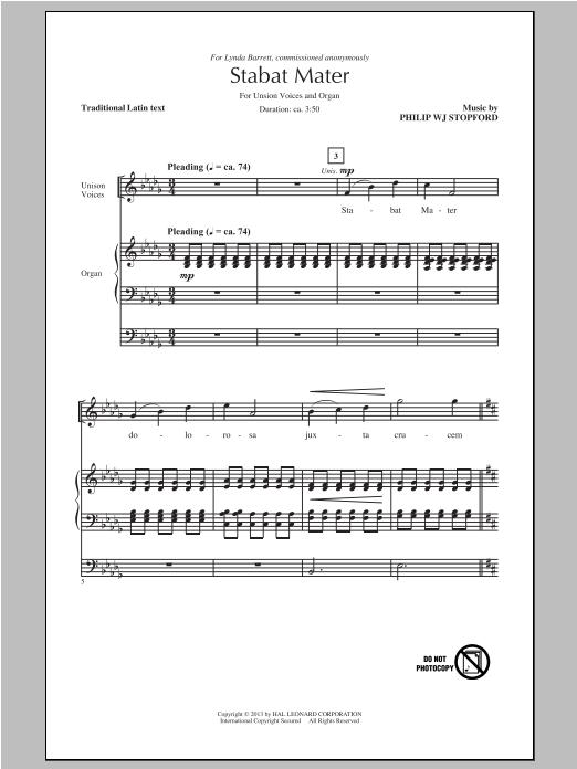 Partition chorale Stabat Mater de Philip Stopford - Unisson