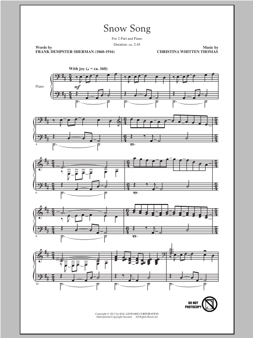 Snow Song sheet music for choir and piano (duets) by Christina Whitten Thomas