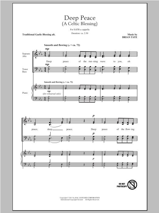 Partition chorale Deep Peace de Brian Tate - SATB