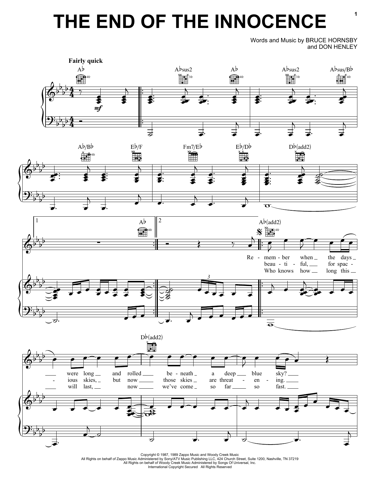 Sheet music digital files to print licensed bruce hornsby the end of the innocence hexwebz Image collections