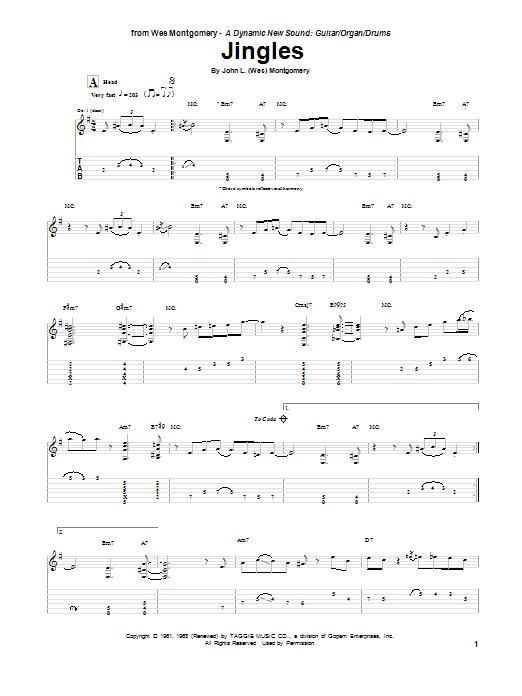 Tablature guitare Jingles de Wes Montgomery - Tablature Guitare