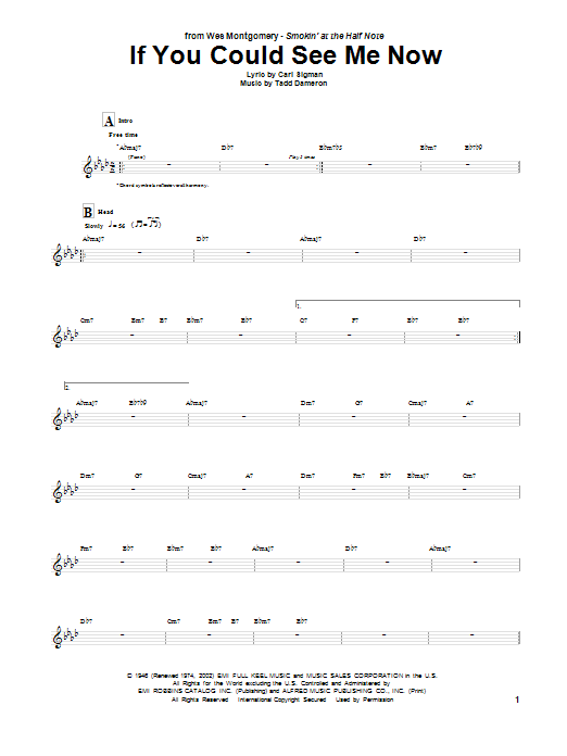 Tablature guitare If You Could See Me Now de Wes Montgomery - Tablature Guitare
