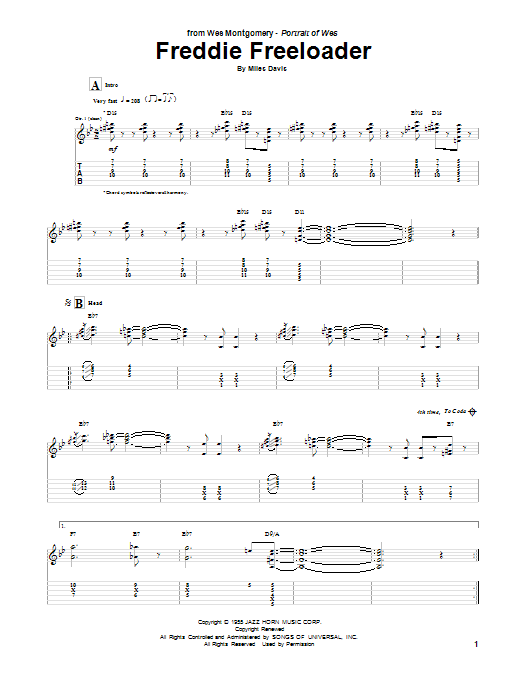 Tablature guitare Freddie Freeloader de Wes Montgomery - Tablature Guitare