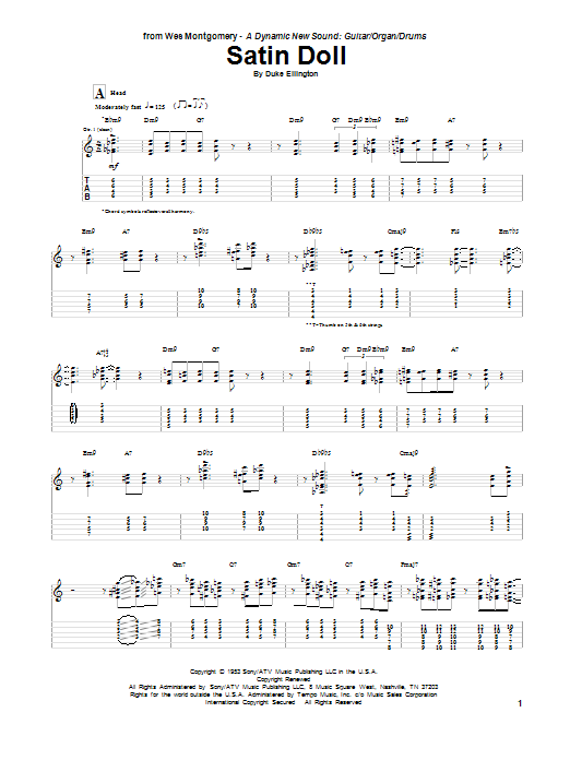 Tablature guitare Satin Doll de Wes Montgomery - Tablature Guitare