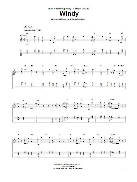 Tablature guitare Windy de Wes Montgomery - Tablature Guitare