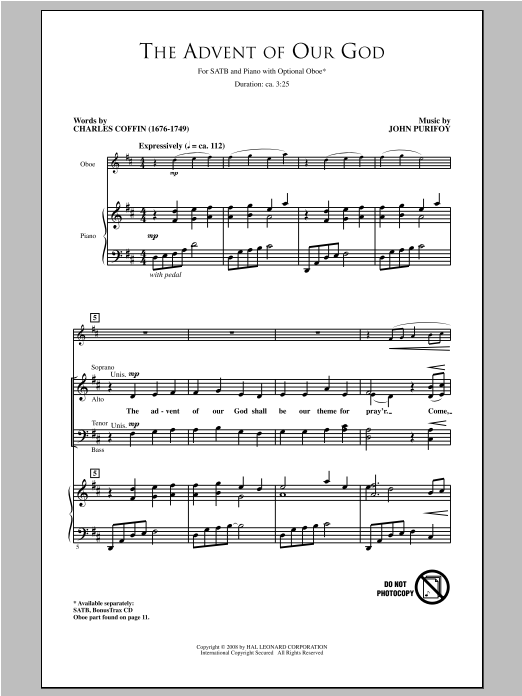 Partition chorale The Advent Of Our God de John Purifoy - SATB