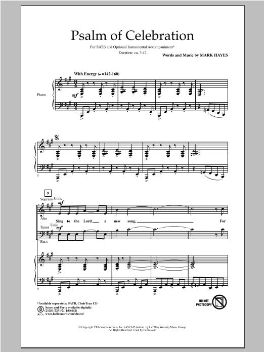 Partition chorale Psalm Of Celebration de Mark Hayes - SATB