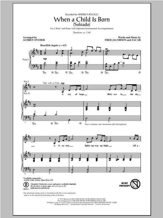 Partition chorale When A Child Is Born (Soleado) de Andrea Bocelli - 2 voix