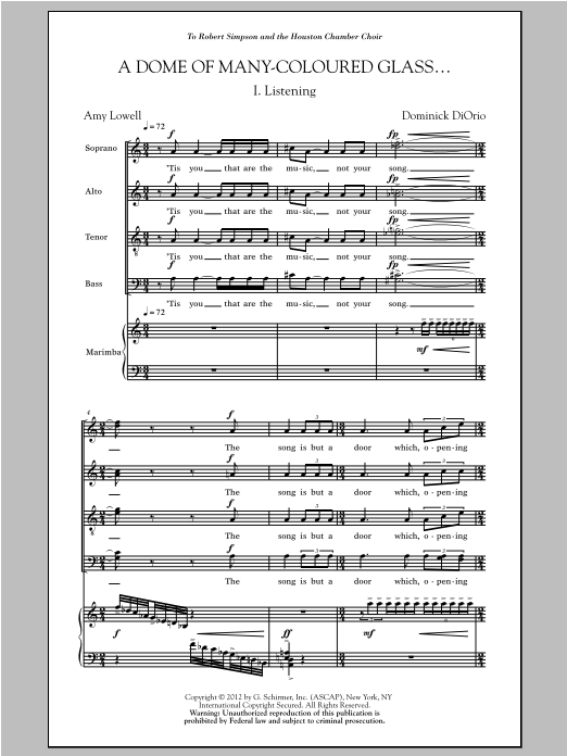 Partition chorale A Dome Of Many-Coloured Glass de Dominick Diorio - SATB