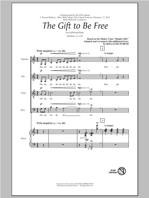Partition chorale The Gift To Be Free de Rollo Dilworth - SATB