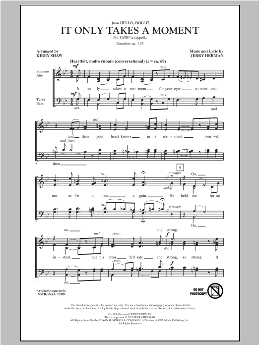 Partition chorale It Only Takes A Moment de Kirby Shaw - SATB