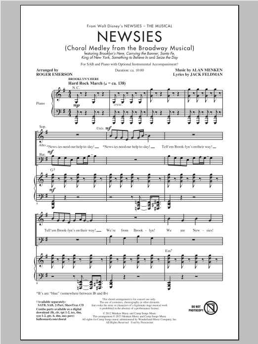 Partition chorale Newsies (Choral Medley) de Alan Menken - SAB